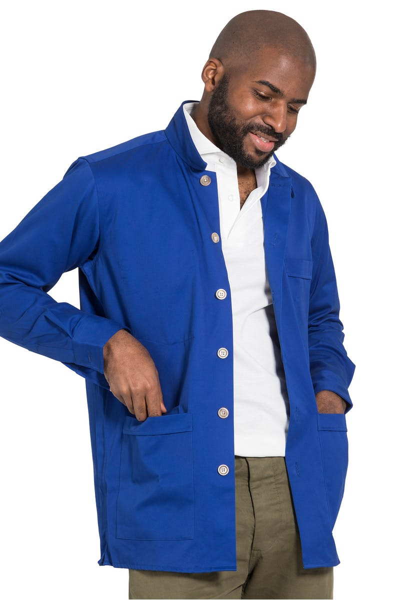 Drake's Royal Blue Cotton Twill Overshirt