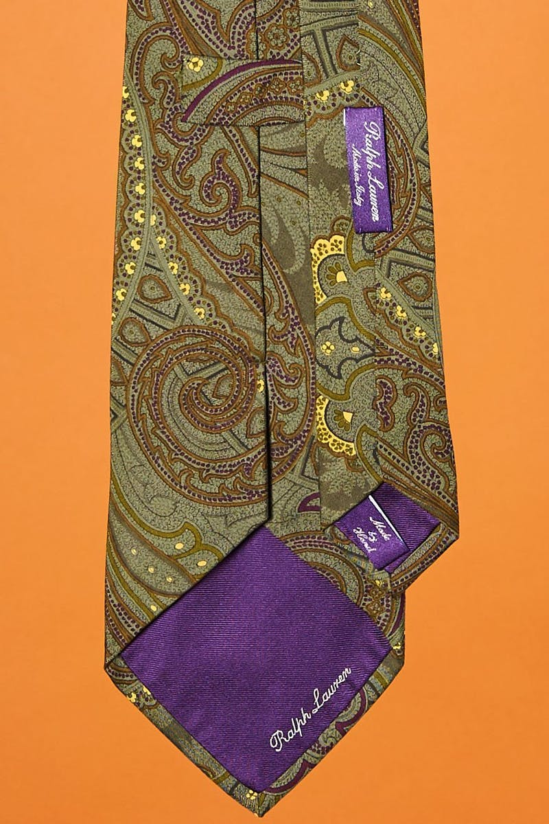 Ralph Lauren Purple Label Green Print Silk Tie