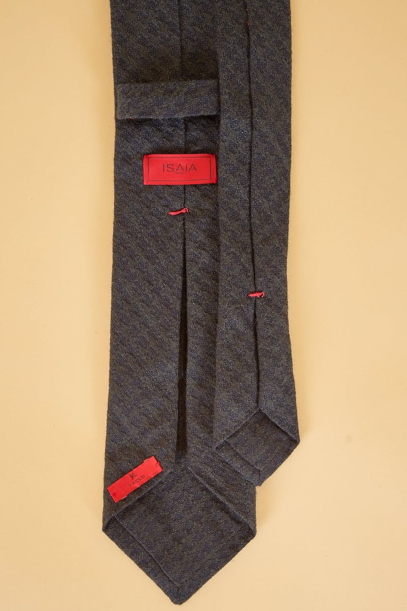 Isaia Dark Green Textured Wool/Cotton Tie