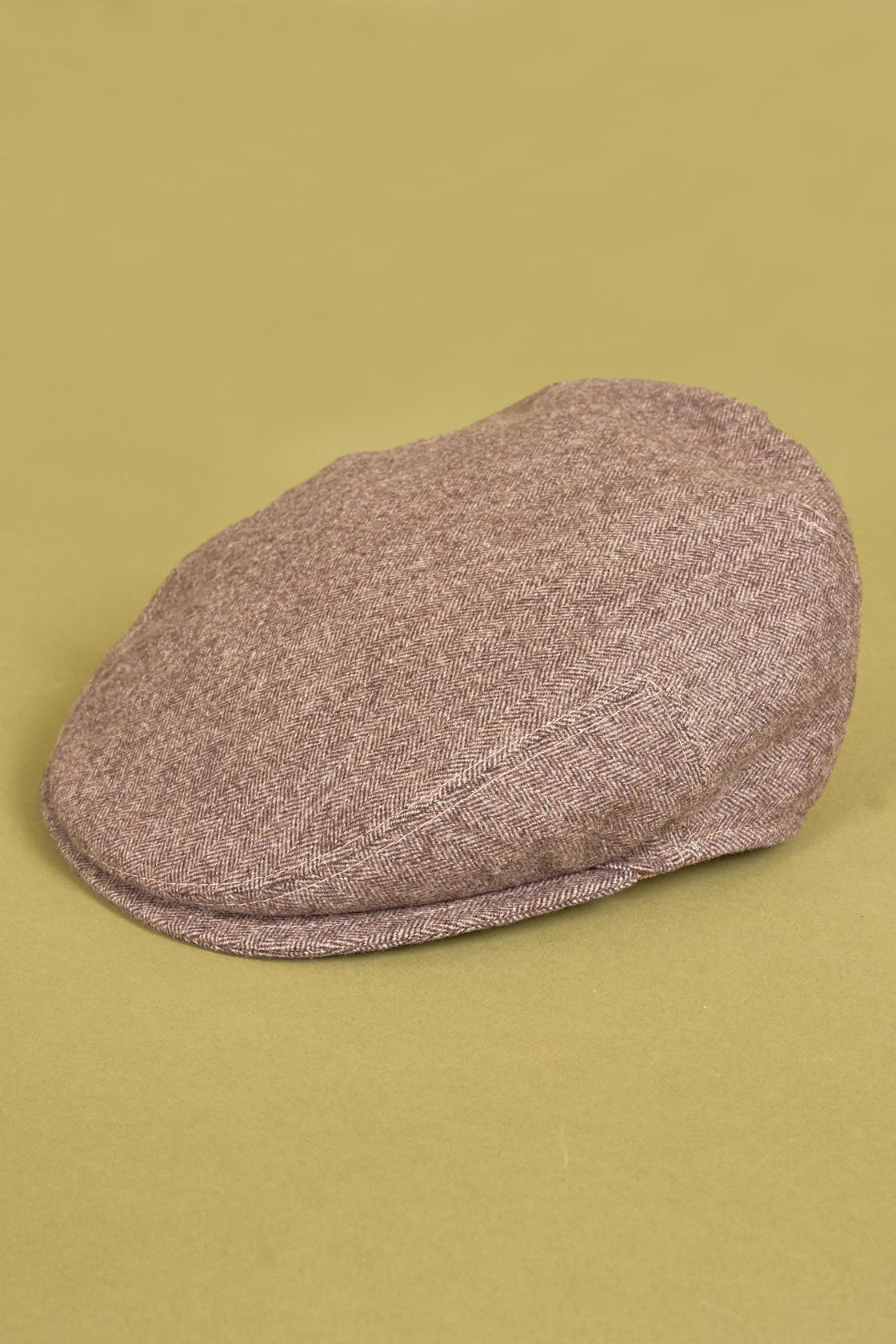 Cappellificio Biellese Brown Mark Wool Herringbone Cap