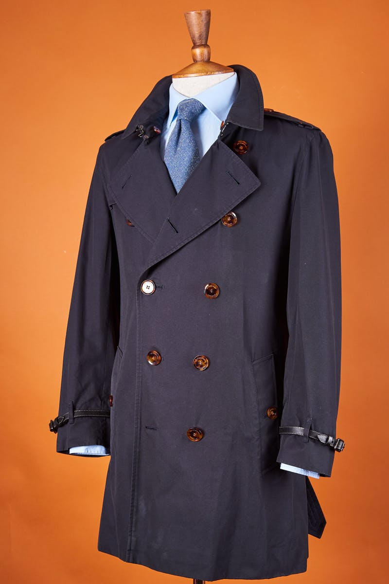 Burberry Dark Navy Cotton Gaberdine Double Breasted Trench Coat