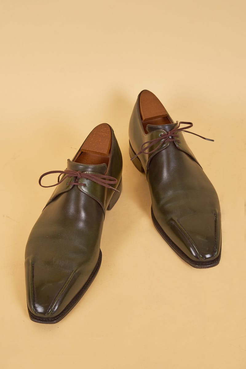 Corthay Green Leather Derby Shoes