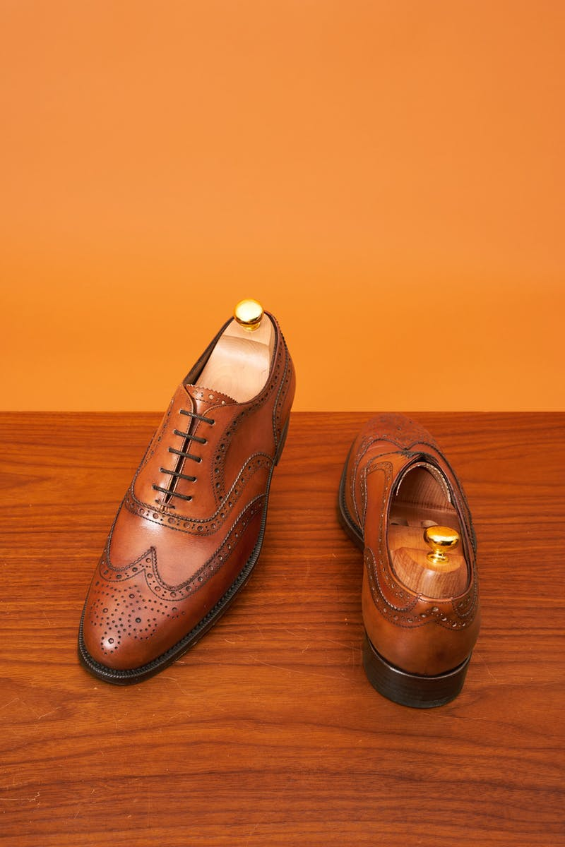 Borrelli Napoli Brown Wingtip Shoes