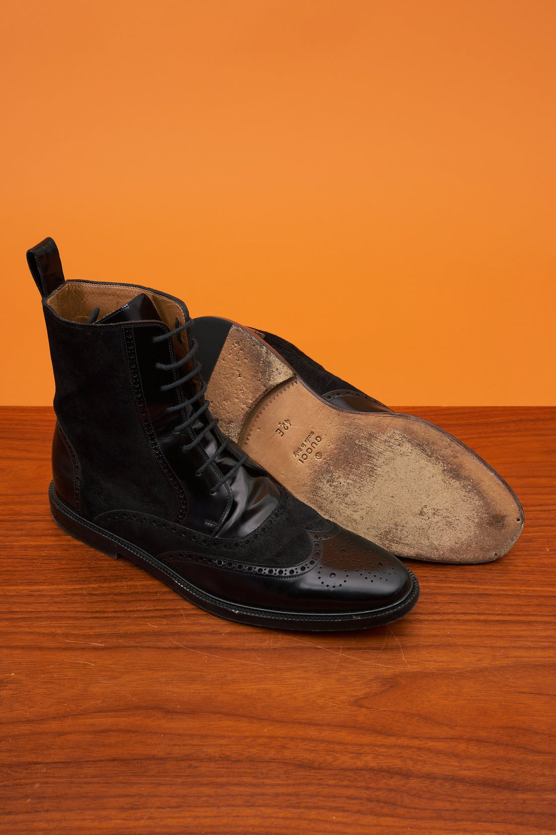 Gucci Black Wingtip Boots