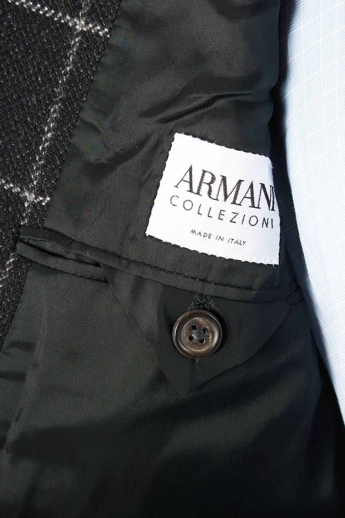 Armani Collezioni Black with Grey Check Cashmere Sport Coat