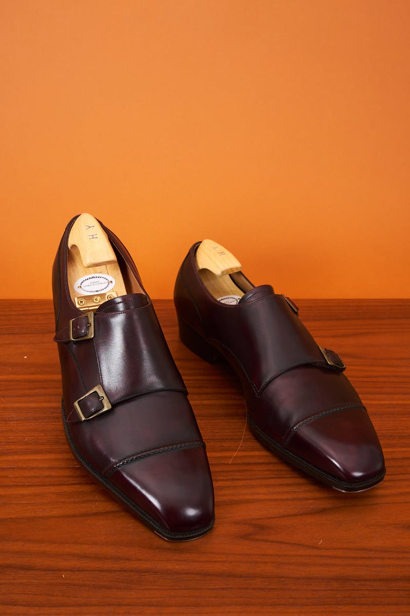 George Cleverley Burgundy Double Monk Shoes Bespoke