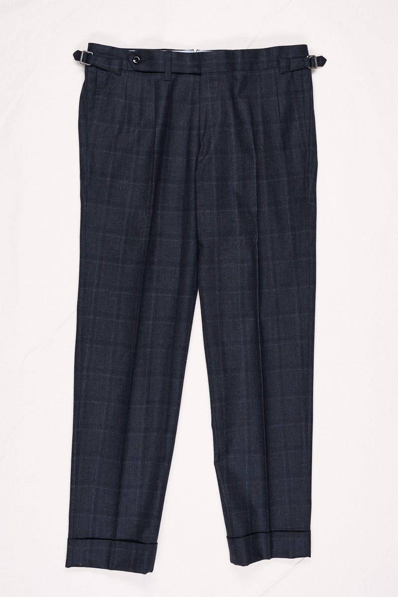 Ring Jacket Charcoal Wool Flannel Check Trousers