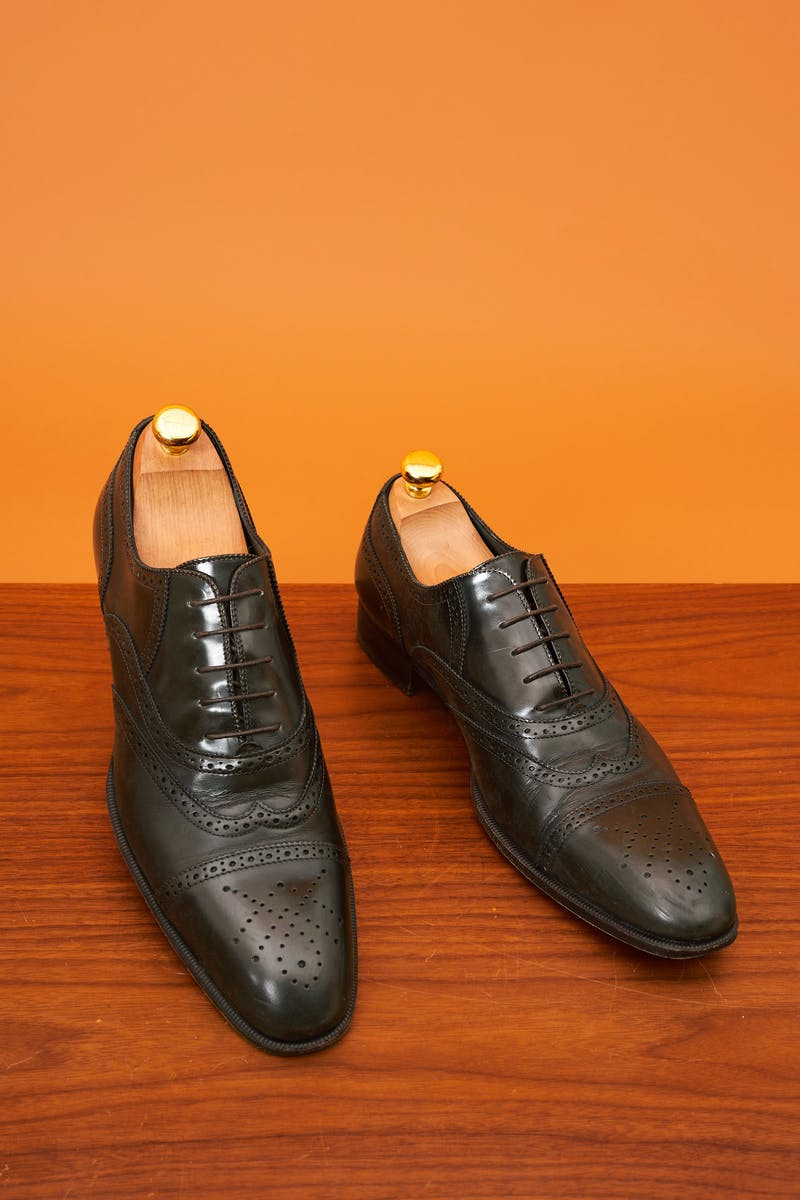 Yves Saint Laurent Dark Green Calf Wingtip Shoes