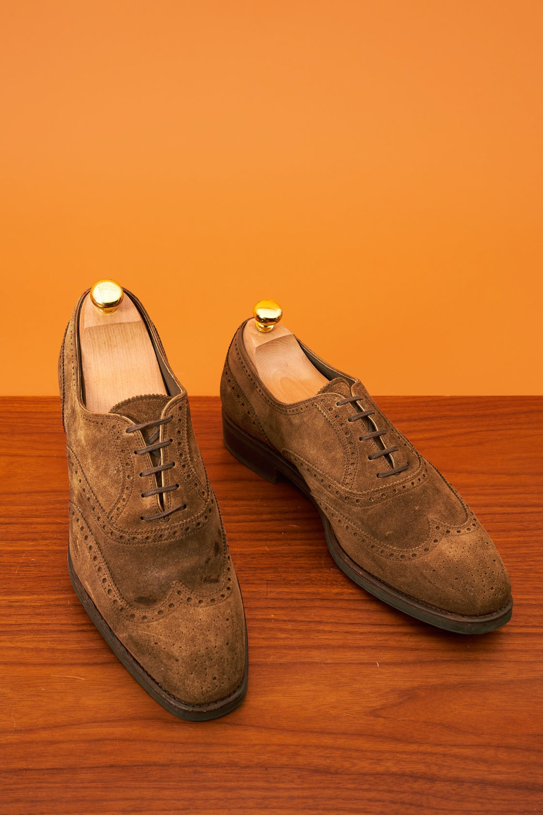 Carmina Rain Snuff Suede Wingtip Shoes