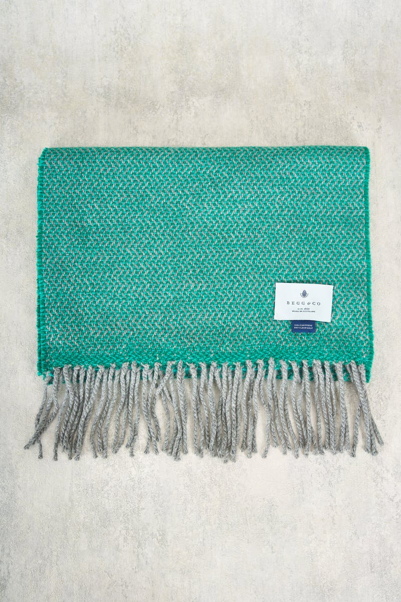 Begg & Co Green Herringbone Cashmere Scarf