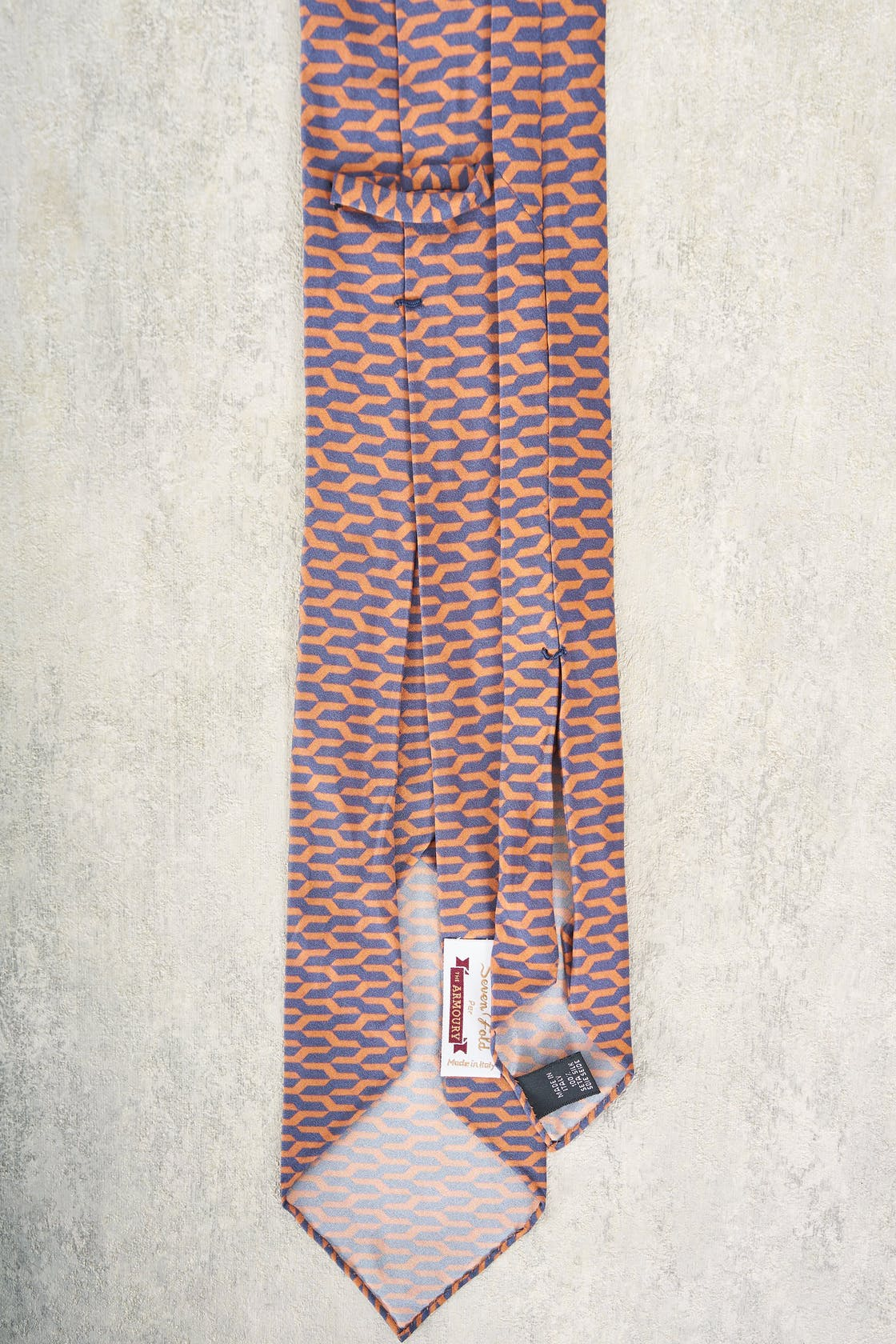 Seven Fold Blue and Peach Pattern Silk Tie