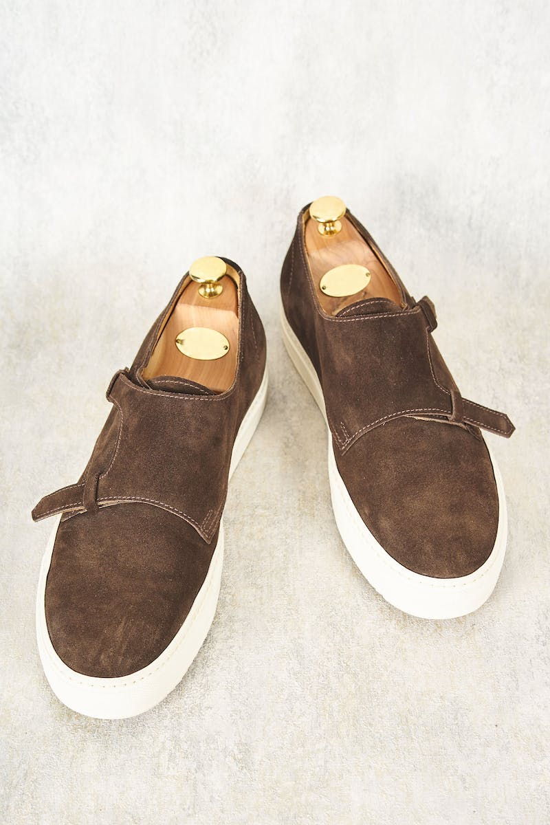 Doucal's Brown Suede Double Monk Slip On Shoes