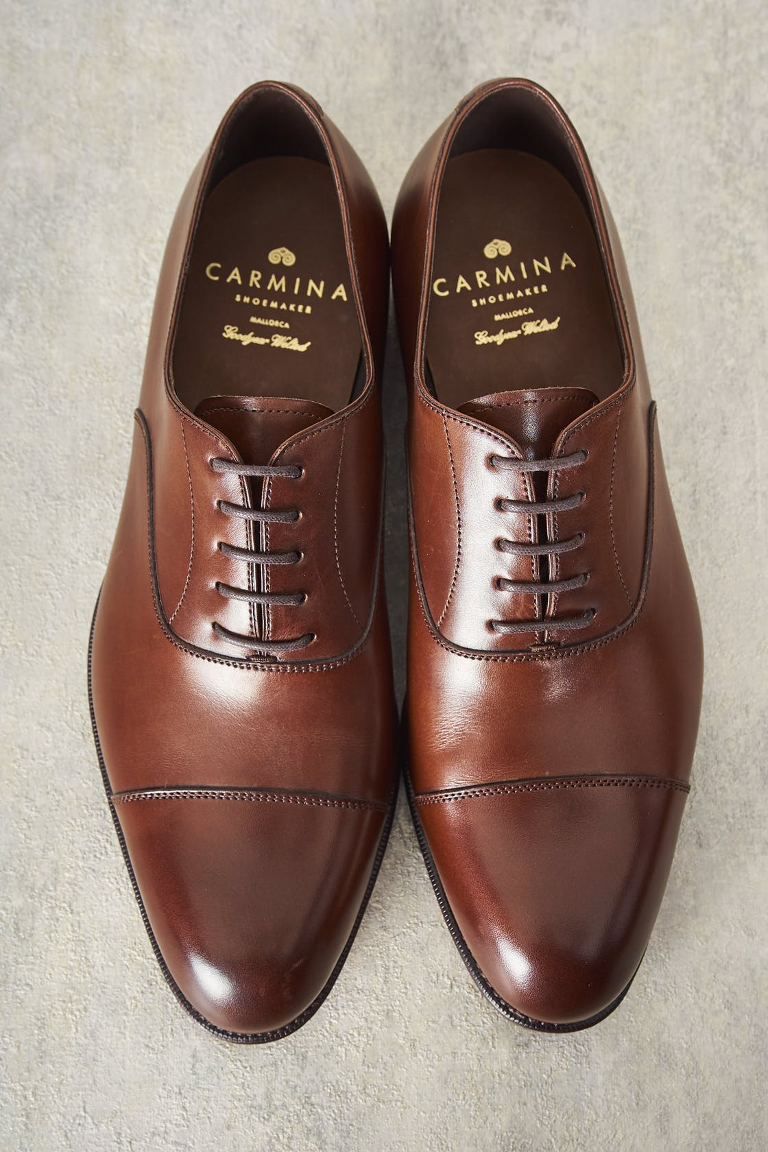Carmina Robert 732 Brown Calf Oxford Simple Captoe Shoes
