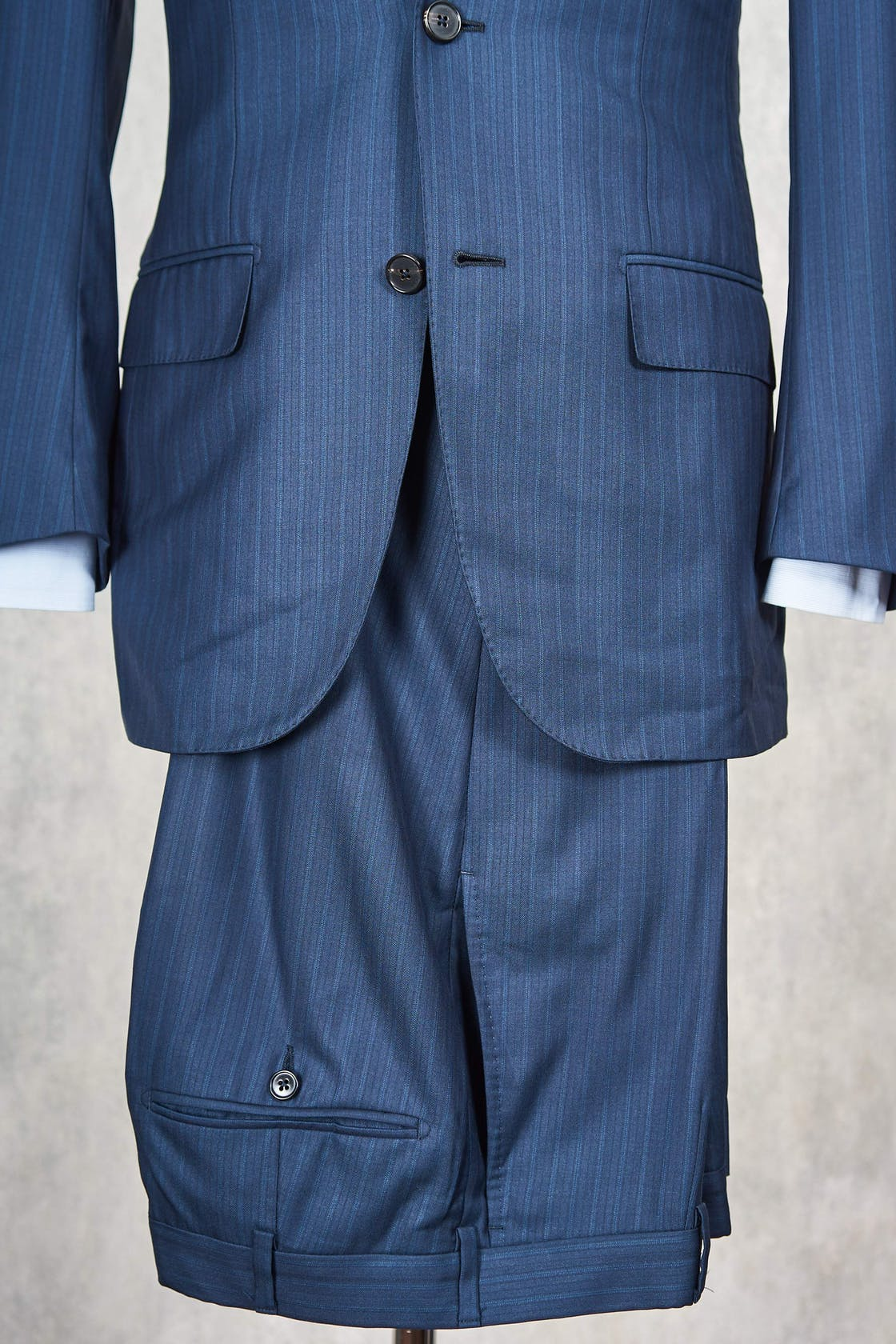 Ermenegildo Zegna 'Su Misura' Navy Mini Herringbone Silk Wool Suit