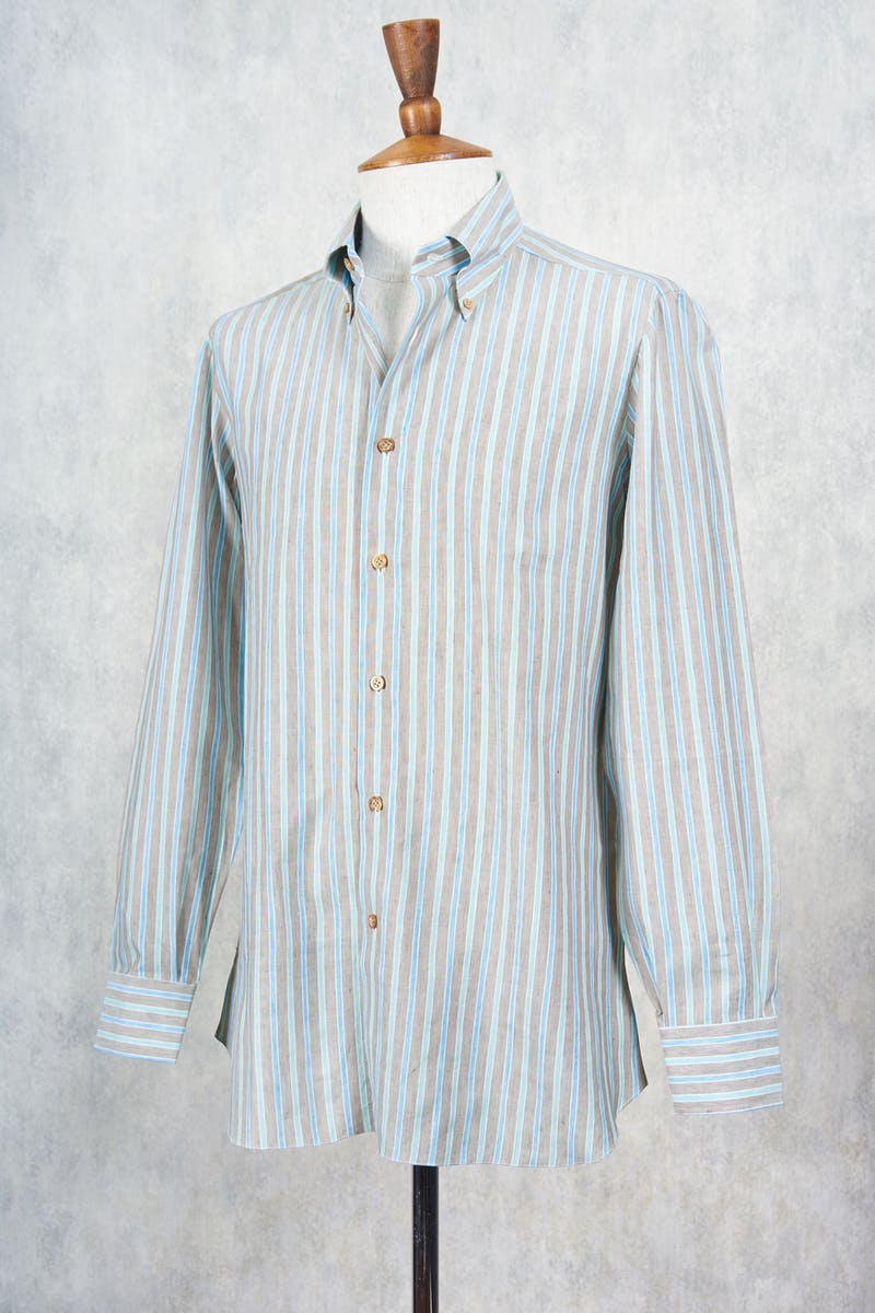 Avino Brown with Blue/Green Stripe Cotton/Linen Shirt