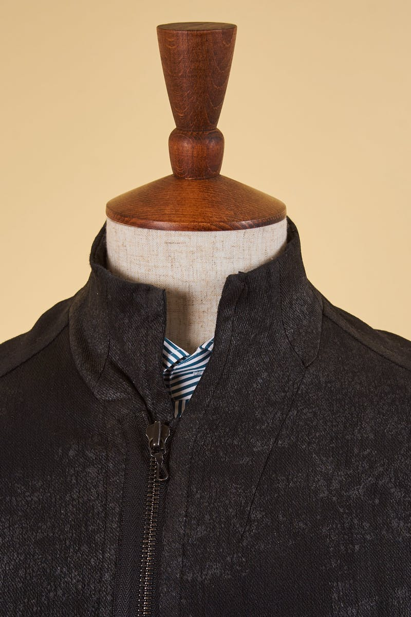 Julius Dark Grey Coated Knit Denim Jacket