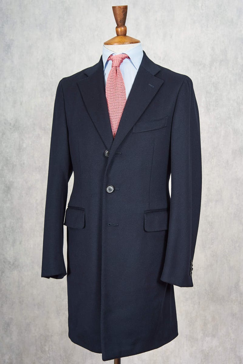 Isaia Black Wool/Cashmere Overcoat