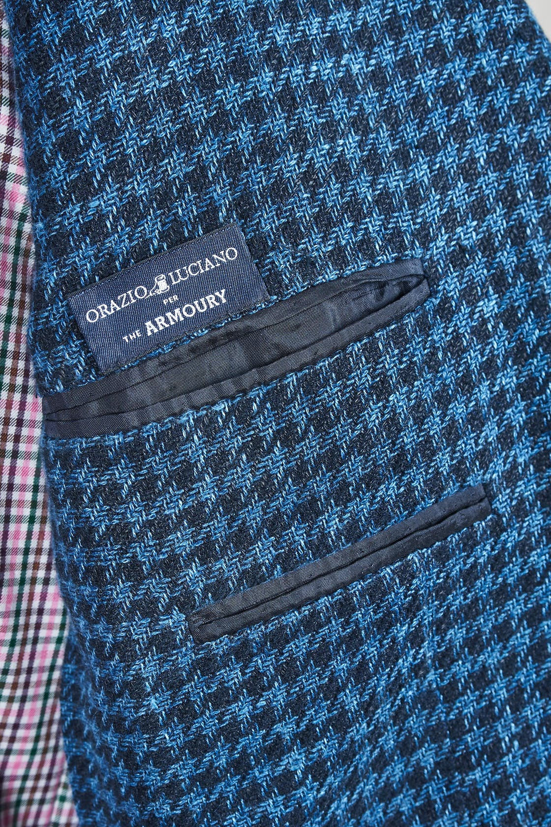 Orazio Luciano Black and Blue Houndstooth Wool Sport Coat